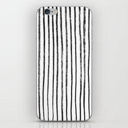 Black Dry Brush Line Pattern (Vertical) iPhone Skin