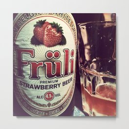 Strawberry Beer Metal Print