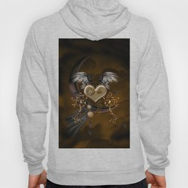 Steampunk heart with wings and butterflies Hoody