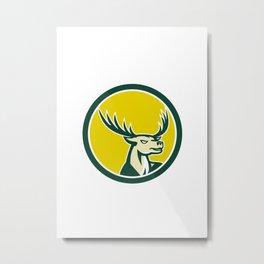 Deer Stag Buck Head Circle Retro Metal Print