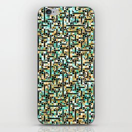 grid in brown and green with shapes iPhone Skin