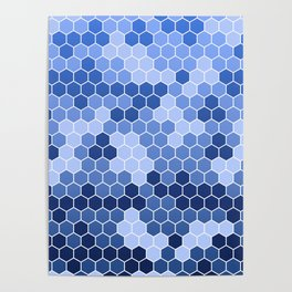 Honeycomb Blue Pattern | Geometric Shapes | Home Decor | Sapphire | For Him | For Her Poster