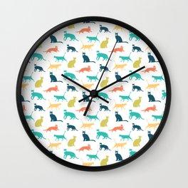 Colorful Cat Pattern Minimal Happy Bright Wall Clock