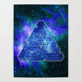 Triangle Blue Space With Nebula Poster