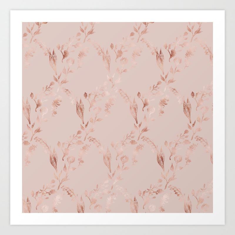 Elegant Glam Mauve Pink Rose Gold Floral Pattern Art Print By