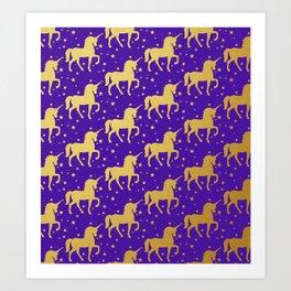 Purple and Gold Unicorn and Stars Pattern Art Print