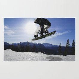 Born To Fly Snowboarder & Mountains Rug