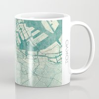 vintage map Mugs featuring Tokyo Map Blue Vintage by City Art Posters