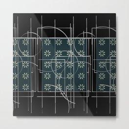 Black Green Grey Digital Daisy Abstract Metal Print