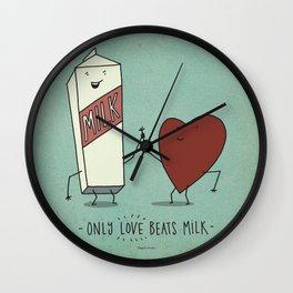 only love beats milk Wall Clock