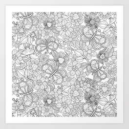 butterfliesd and flowers in black Art Print