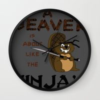 beaver Wall Clocks featuring Beaver by Derek Donovan