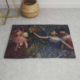 Dancer And Tambourine By Edgar Degas | Reproduction | Famous French Painter Rug