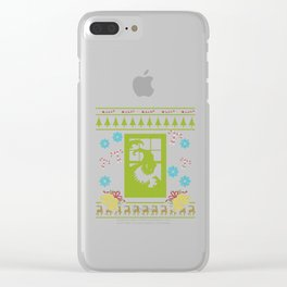 Scary Christmas Ugly Sweater Design Shirt Clear iPhone Case