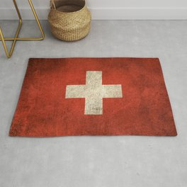 Old and Worn Distressed Vintage Flag of Switzerland Rug