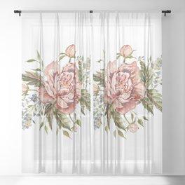 Pink Wild Rose Bouquet Sheer Curtain