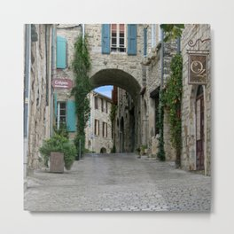 France Photography - Street From A Town In Vézénobres Metal Print