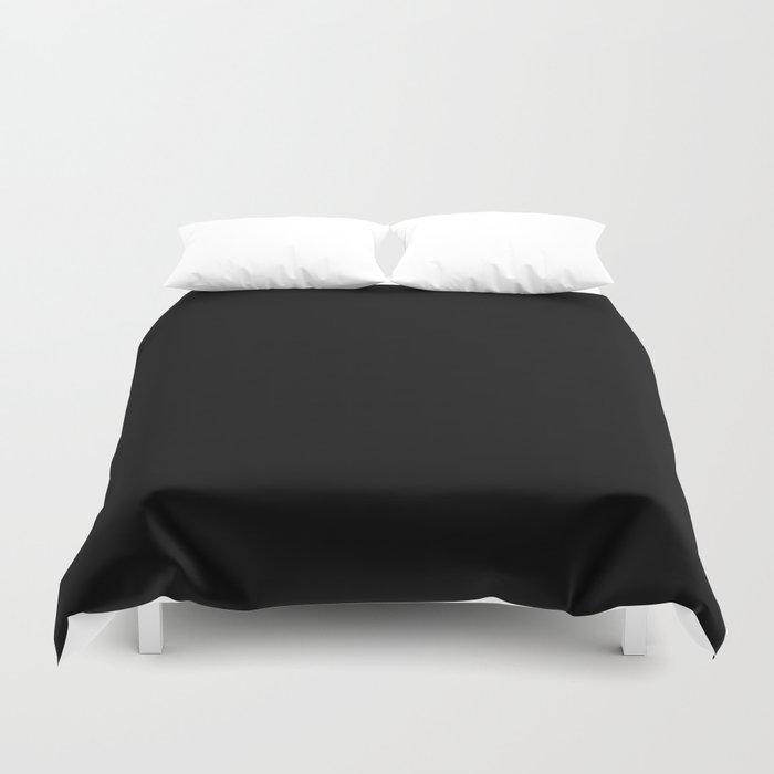 Black Minimalist Solid Color Block Bettbezug