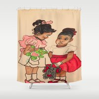 chile Shower Curtains featuring Chile Boo by YMVA, LLC