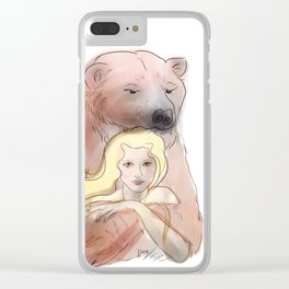 The woman and the polar bear Clear iPhone Case