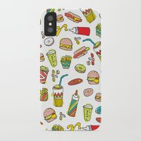 junk food iPhone & iPod Cases featuring Awesome retro junk food icons by Little Smilemakers Studio