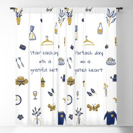 Start Each Day With a Grateful Heart - Cute things Blackout Curtain