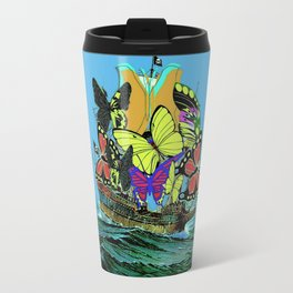 BUTTERFLY SAILS, PIRATE SHIP COLORFUL PRINT Travel Mug