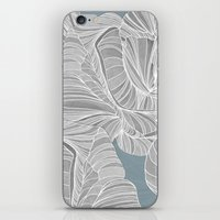 gray pattern iPhone & iPod Skins featuring Gray Roses Pattern - Blue  by Sweet Karalina