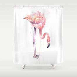 Flamingo Painting Watercolor Shower Curtain