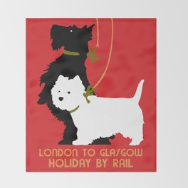 Retro London and Glasgow by train, dogs terriers Throw Blanket