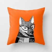 mr fox Throw Pillows featuring Mr. Fox by yellow pony