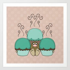 Cute Monster With Cyan And Orange Frosted Cupcakes Art Print