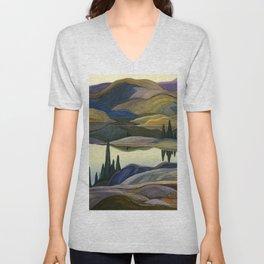 Canadian Landscape Franklin Carmichael Art Nouveau Post-Impressionism Mirror Lake Unisex V-Neck