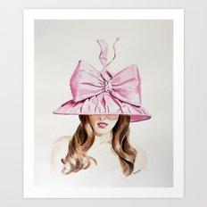 Pink Derby Hat Art Print