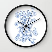 it crowd Wall Clocks featuring Bicycle crowd by Marcelo Romero