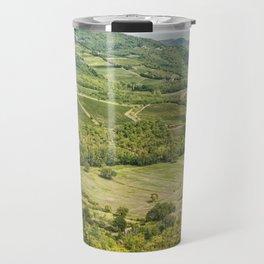 Vineyards landscapes in the morning in Chianti. Travel Mug
