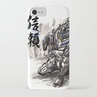 garrus iPhone & iPod Cases featuring Garrus from Mass Effect sumie style with Japanese calligraphy by mycks