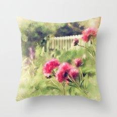 Pink Peonies In A Vintage Garden Throw Pillow