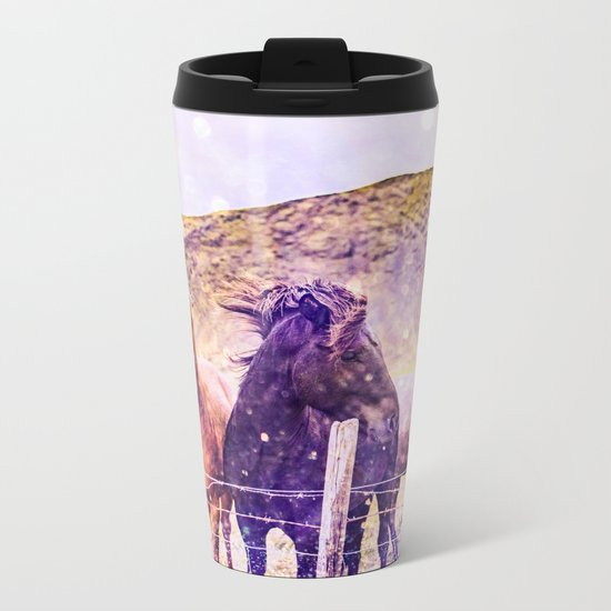 Southwest Horse Ranch Horses Metal Travel Mug