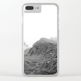 Foggy Mountain Landscape, Black and White Clear iPhone Case
