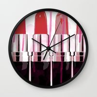 lipstick Wall Clocks featuring Lipstick by Ink and Paint Studio