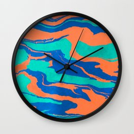 Fluid Acrylics Painting Summer Time Orange Mint Blue Wall Clock
