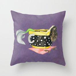 Mermaid Bathing in a Cup of Tea Throw Pillow