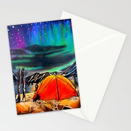 'Front Row Seat' Northern Lights - Ski Camping - Original Skiing Drawing Stationery Cards