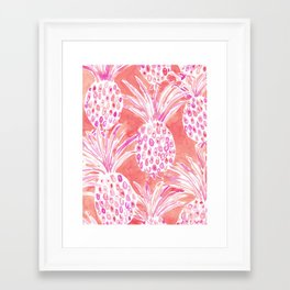FLESHED OUT Tropical Pink Pineapples Framed Art Print