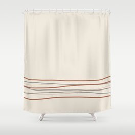 Sherwin Williams Creamy Off White SW7012 with Scribble Lines Bottom in Cavern Clay SW 7701 Shower Curtain