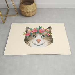 Cat tabby floral crown cute gifts for cat lovers Rug