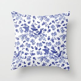 Pattern with blue watercolor birds Throw Pillow