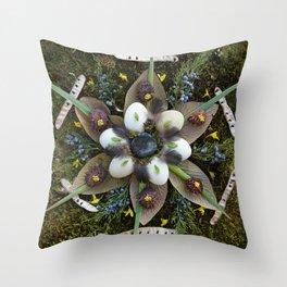 Nature Mandala: March Throw Pillow