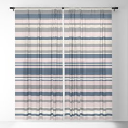 Multi Stripes in Navy Blue, Champagne Ivory Beige, Blush Pink, and Charcoal Grey Sheer Curtain